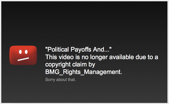 An example message from a taken down Youtube video.